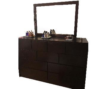 Gothic Cabinet Craft Dark Teak 10 Drawer Dresser w/ Mirror