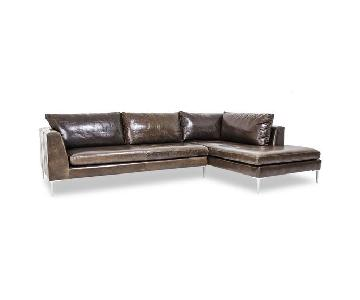 ABC Home Carroll Gardens Leather Sectional w/ Right Chaise