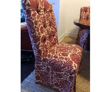 Ballard Designs Red & Cream Slipcovered Dining Chairs