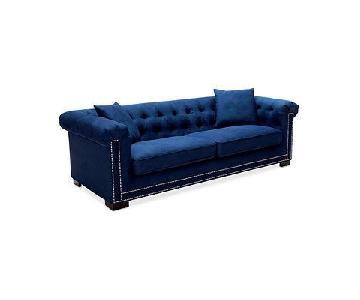 Macy's Blue Suede Tufted Sofa & Ottoman w/ Silver Studs