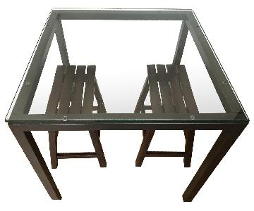 Square Glass Top Dining Table w/ 2 Stools