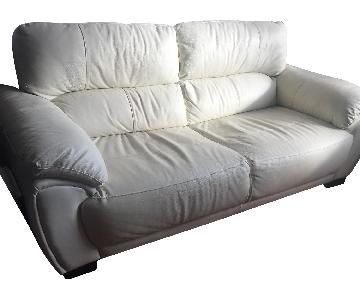 Jennifer Convertibles Leather 2 Seater Sofa in White/Ivory