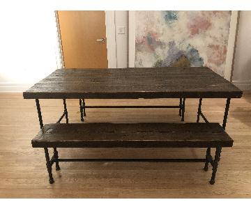 Handmade Reclaimed Wood Dining Table w/ 2 Benches