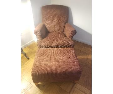 Maurice Villency Arm Chair & Ottoman