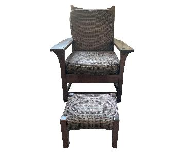 Arts and Crafts Oak Upholstered Chair & Ottoman