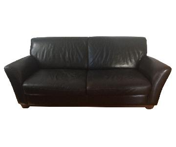 Bloomingdale's Brown Leather Full Sleeper Sofa