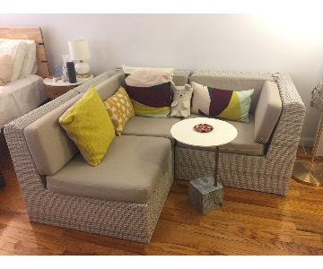 CB2 3-Piece Handwoven Sectional Sofa w/ Poly Cushions