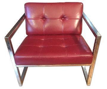 Lexington Vintage Mod Red Leather & Metal Retro Lounge Chair