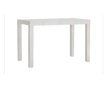 West Elm Parsons Desk w/ Drawers in White & Chair