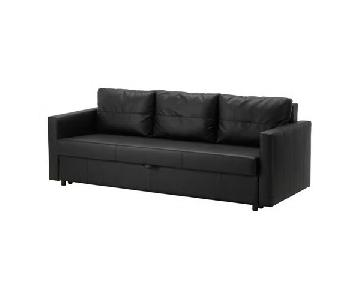 Ikea Friheten Black Leather Sleeper Sofa
