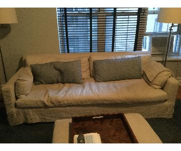 Restoration Hardware Down Filled Sofa & Ottoman
