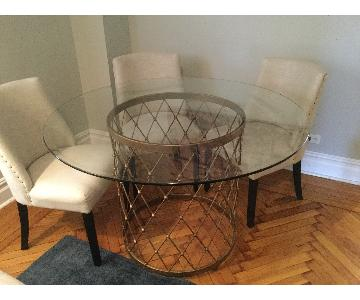ABC Carpet & Home Glass Round Table w/ Antique Gold Base