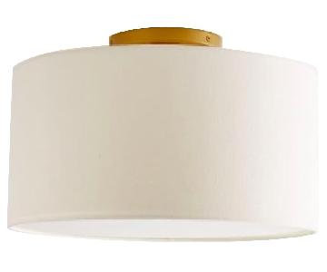 West Elm Fabric Shade Flushmount Drums in White Linen