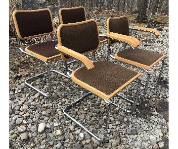 Vintage Breuer Cesca Chrome Dining Chairs