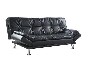 Black Leatherette Sleeper Sofa