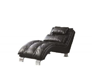 Black Leatherette Chaise