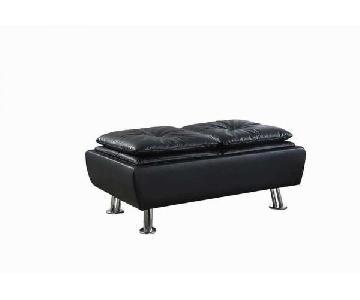 Black Leatherette Storage Ottoman