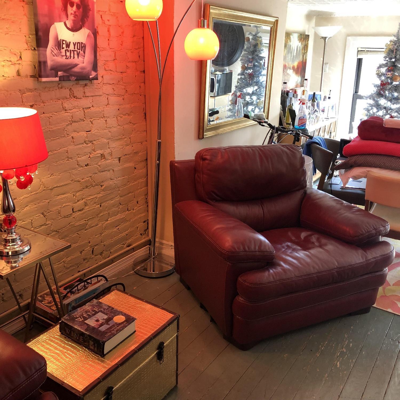 Ashley Red Leather Sectional Sofa Armchair Ottoman Aptdeco