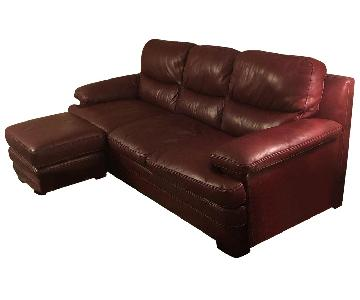 Ashley Red Leather Sectional Sofa + Armchair & Ottoman