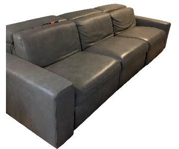 West Elm Leather Sofa w/ 2 Power Recliners