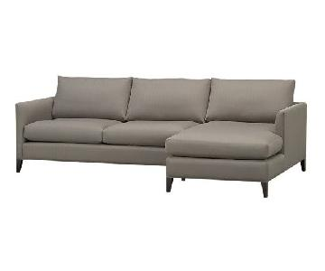 Crate & Barrel 2-Piece Gray Chaise Sectional Sofa