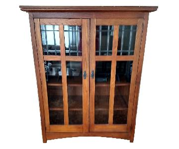 Solid Oak TV Cabinet/Bookcase