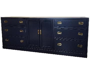 Ethan Allen Blue Campaign Style 9 Drawer Dresser