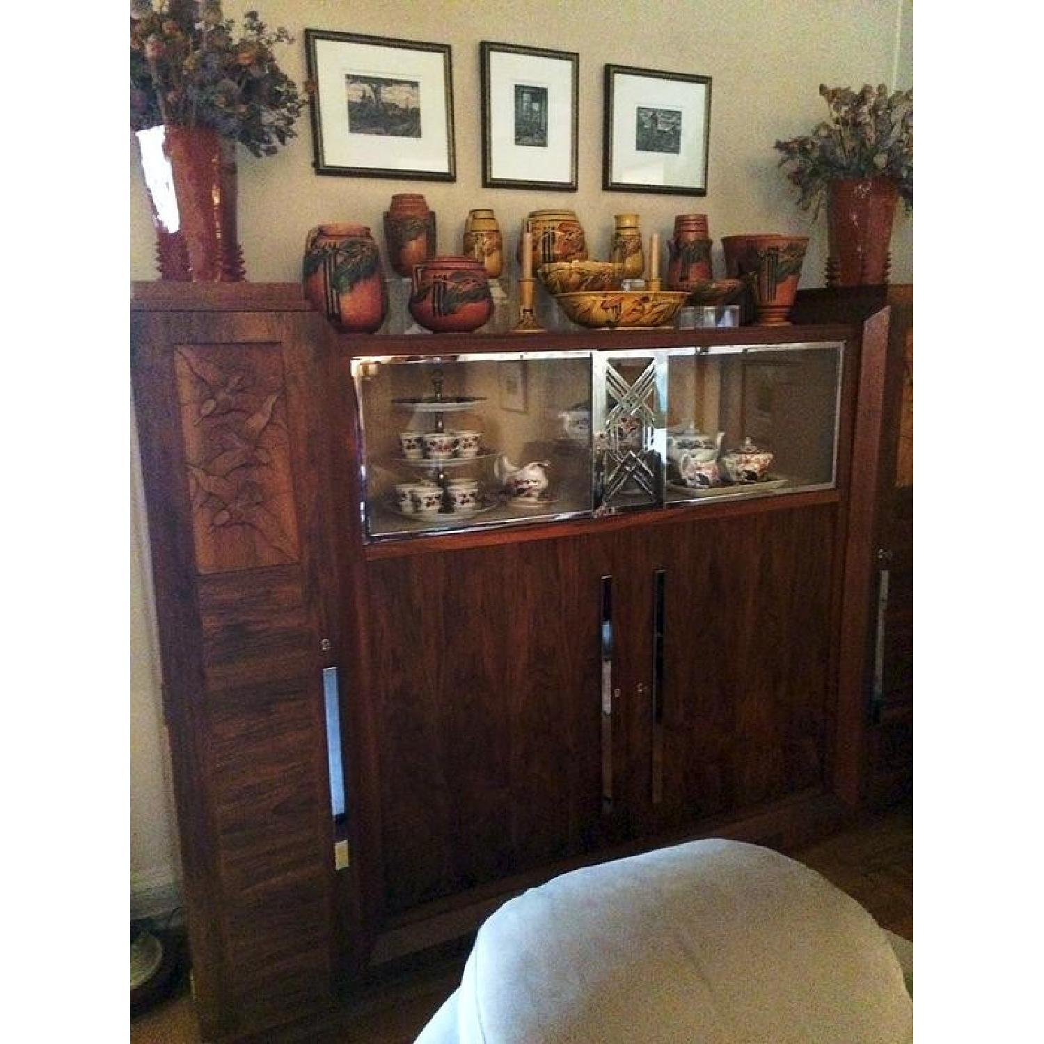 Art Deco Caucasian Walnut Gauthier Poinsignon Chrome & Glass China Cabinet - image-1