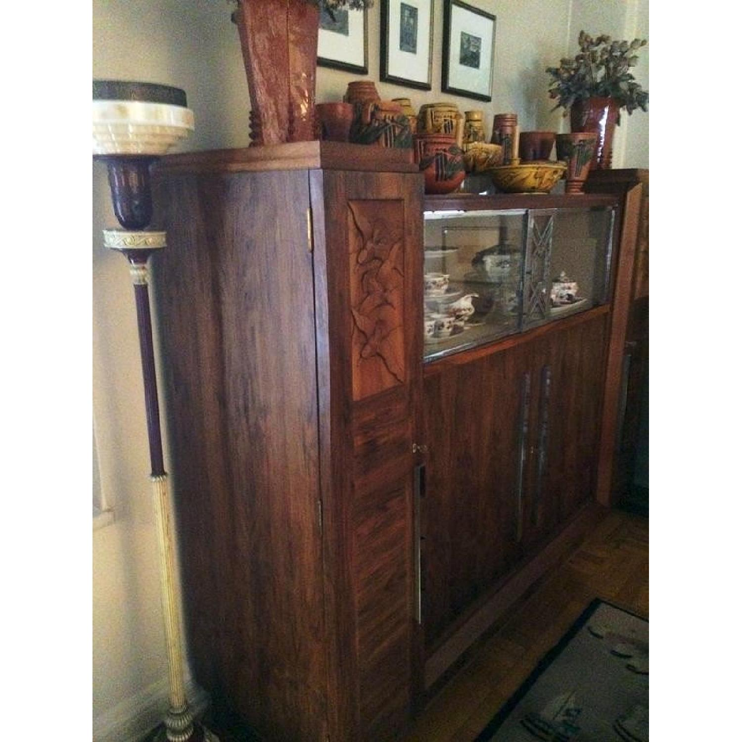 Art Deco Caucasian Walnut Gauthier Poinsignon Chrome & Glass China Cabinet - image-2