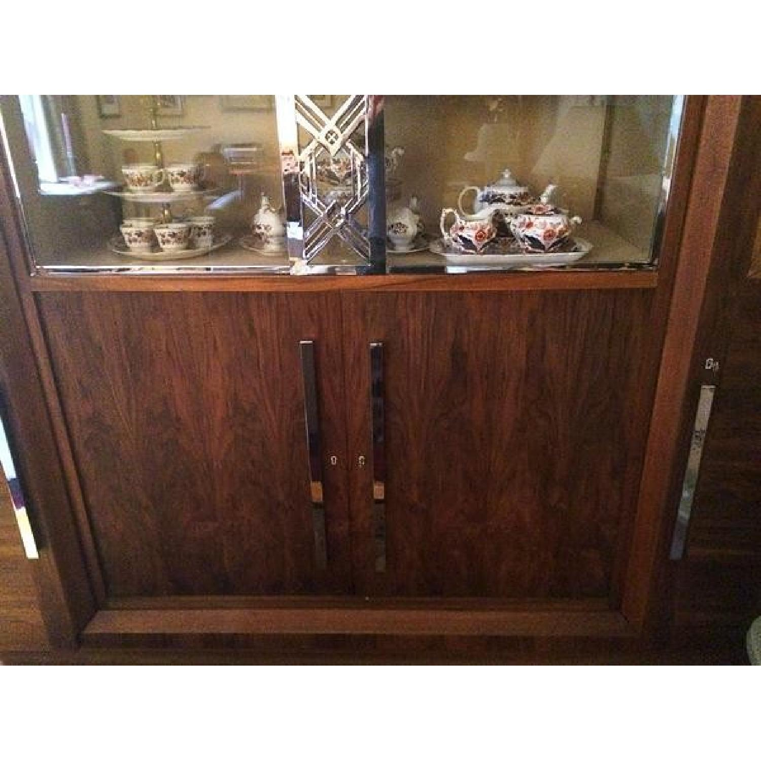 Art Deco Caucasian Walnut Gauthier Poinsignon Chrome & Glass China Cabinet - image-5