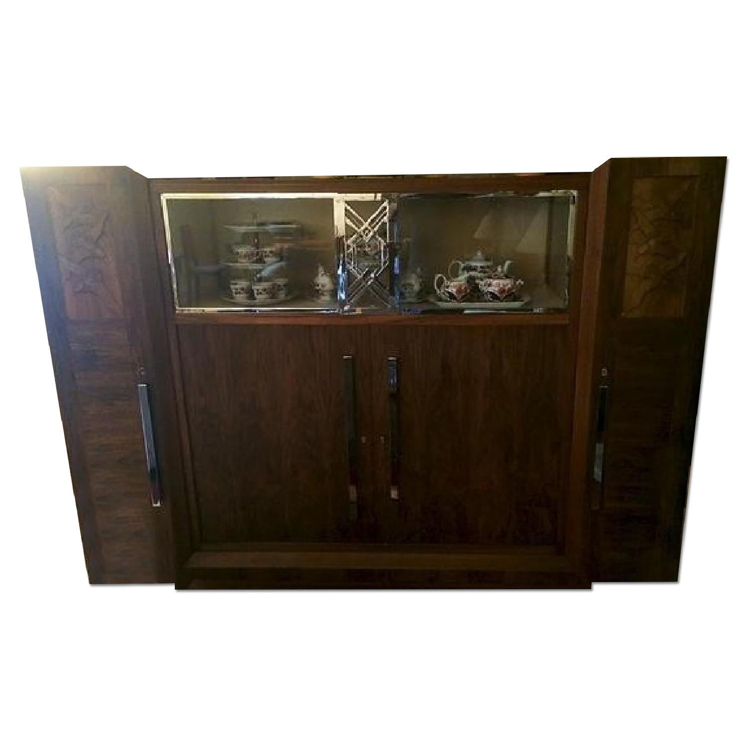 Art Deco Caucasian Walnut Gauthier Poinsignon Chrome & Glass China Cabinet - image-0