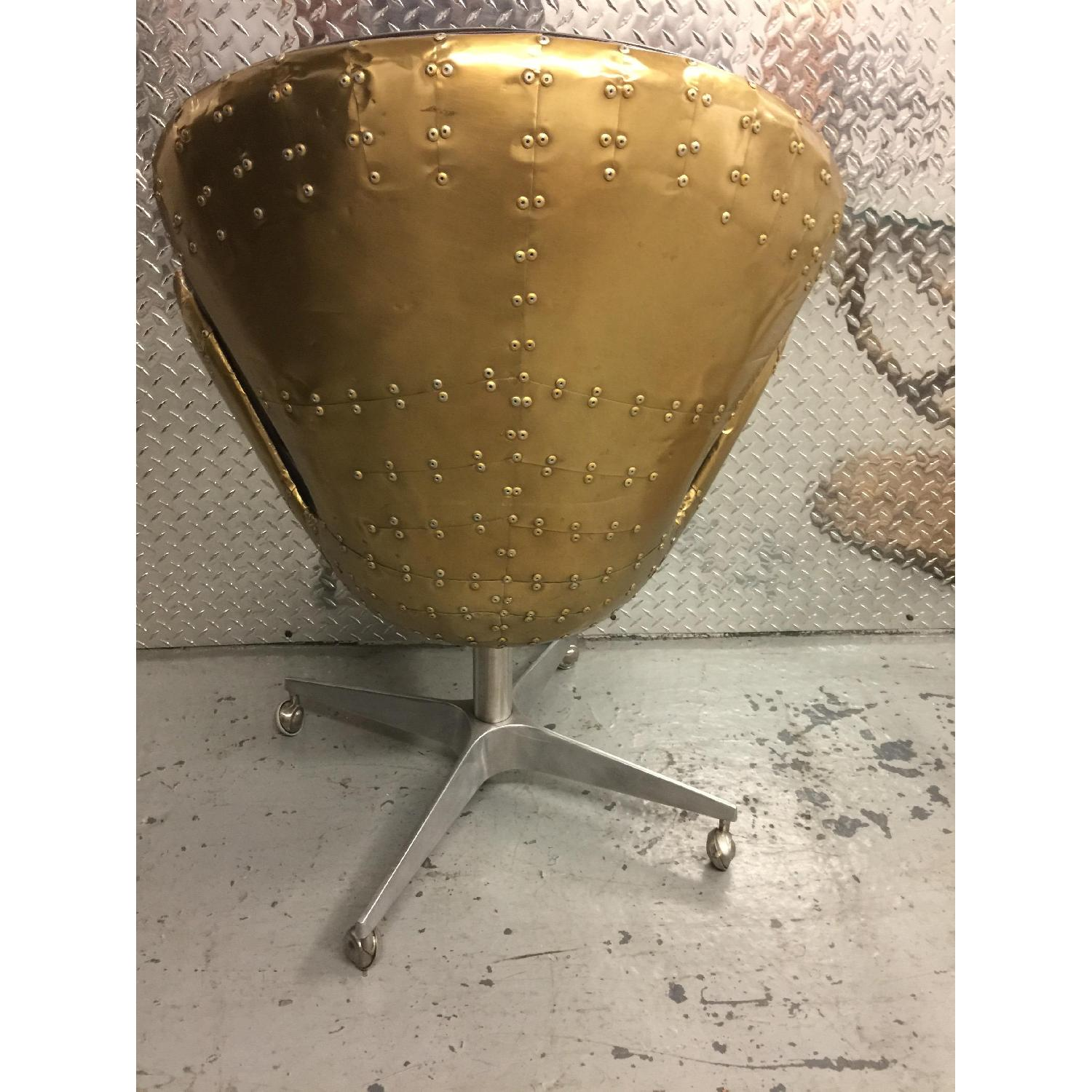 Golden Metal & Leather Rolling Chair - image-5