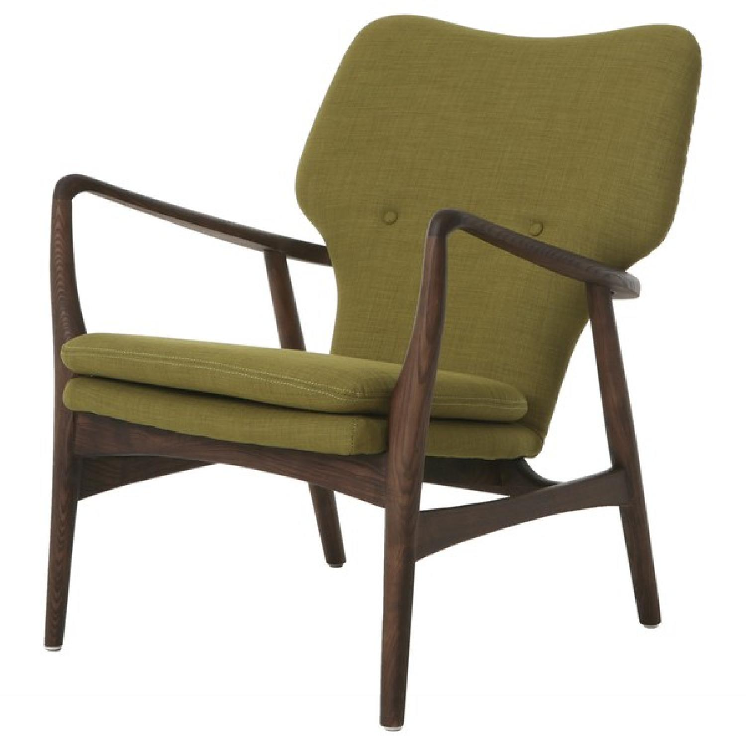 Solid wood mid century danish modern lounge chair aptdeco for Mid century danish modern chair