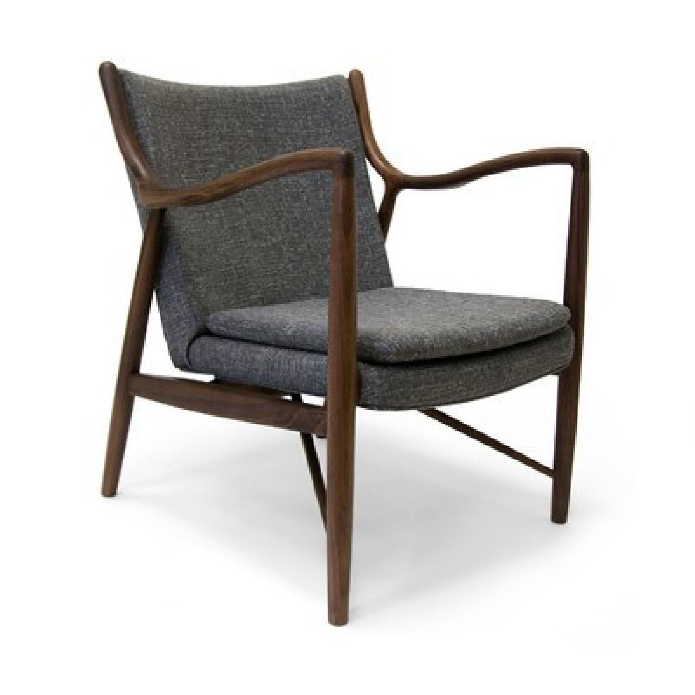 Mid Century Danish Modern Walnut Lounge Arm Chair - image-4