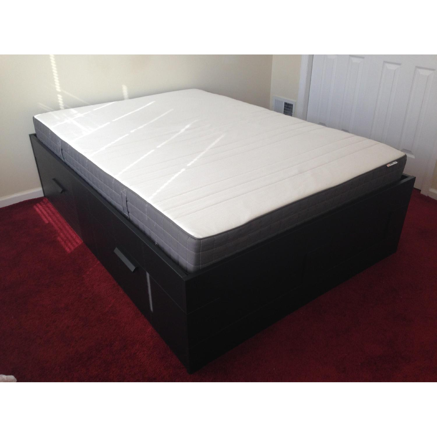 Ikea Brimnes Captains Full Size Bed w/ 4 Drawers - image-1