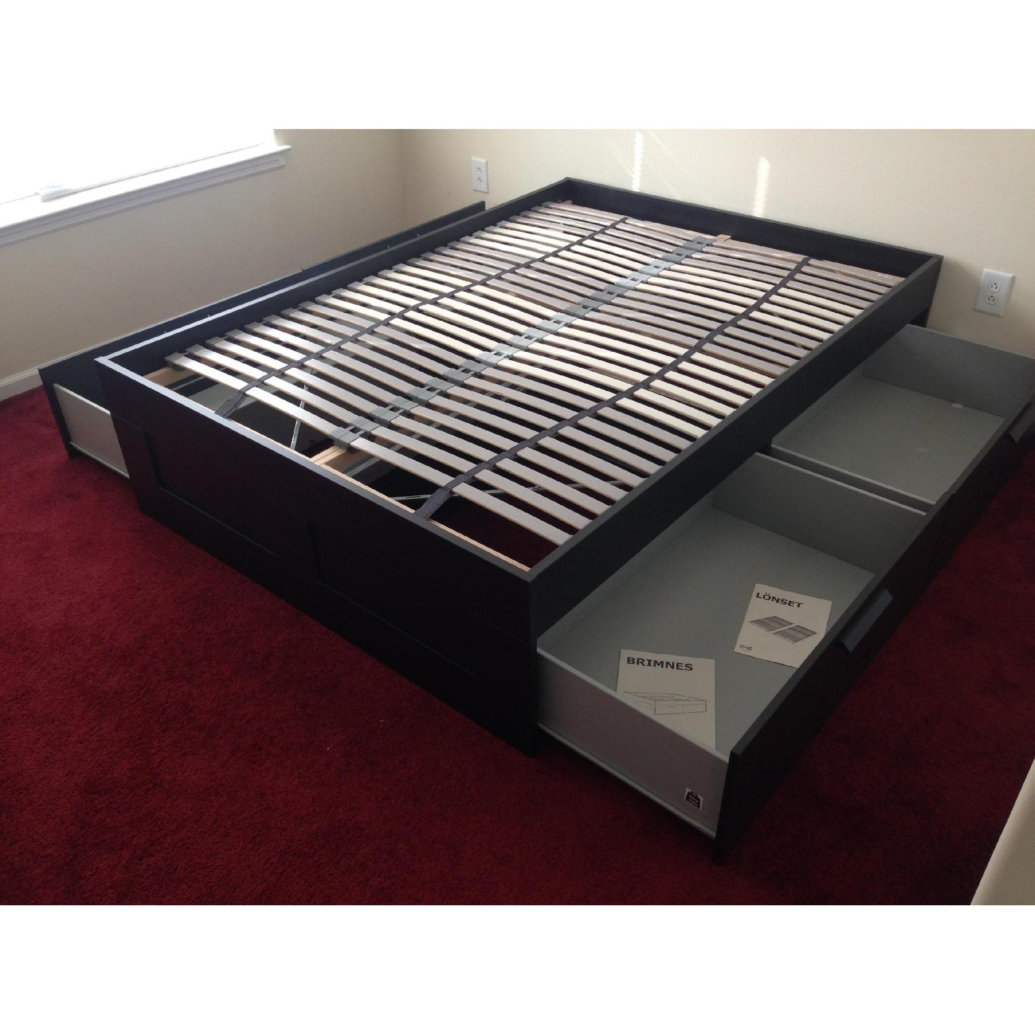 Ikea Brimnes Captains Full Size Bed w/ 4 Drawers - image-4