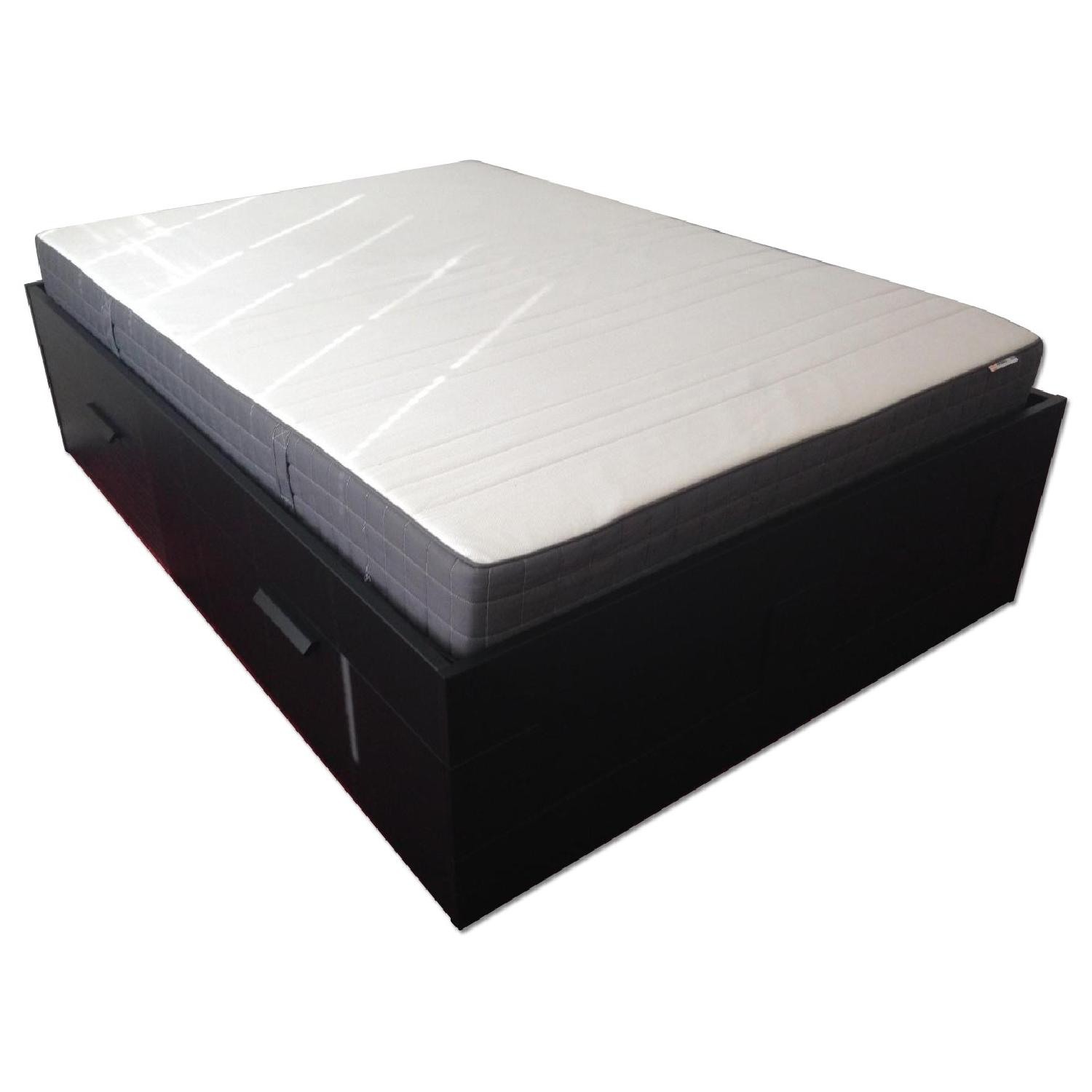 Ikea Brimnes Captains Full Size Bed w/ 4 Drawers - image-0