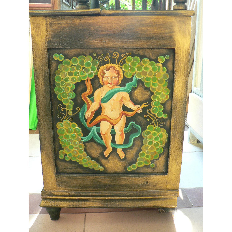 Vintage Oak Wood Frame Chest - image-2