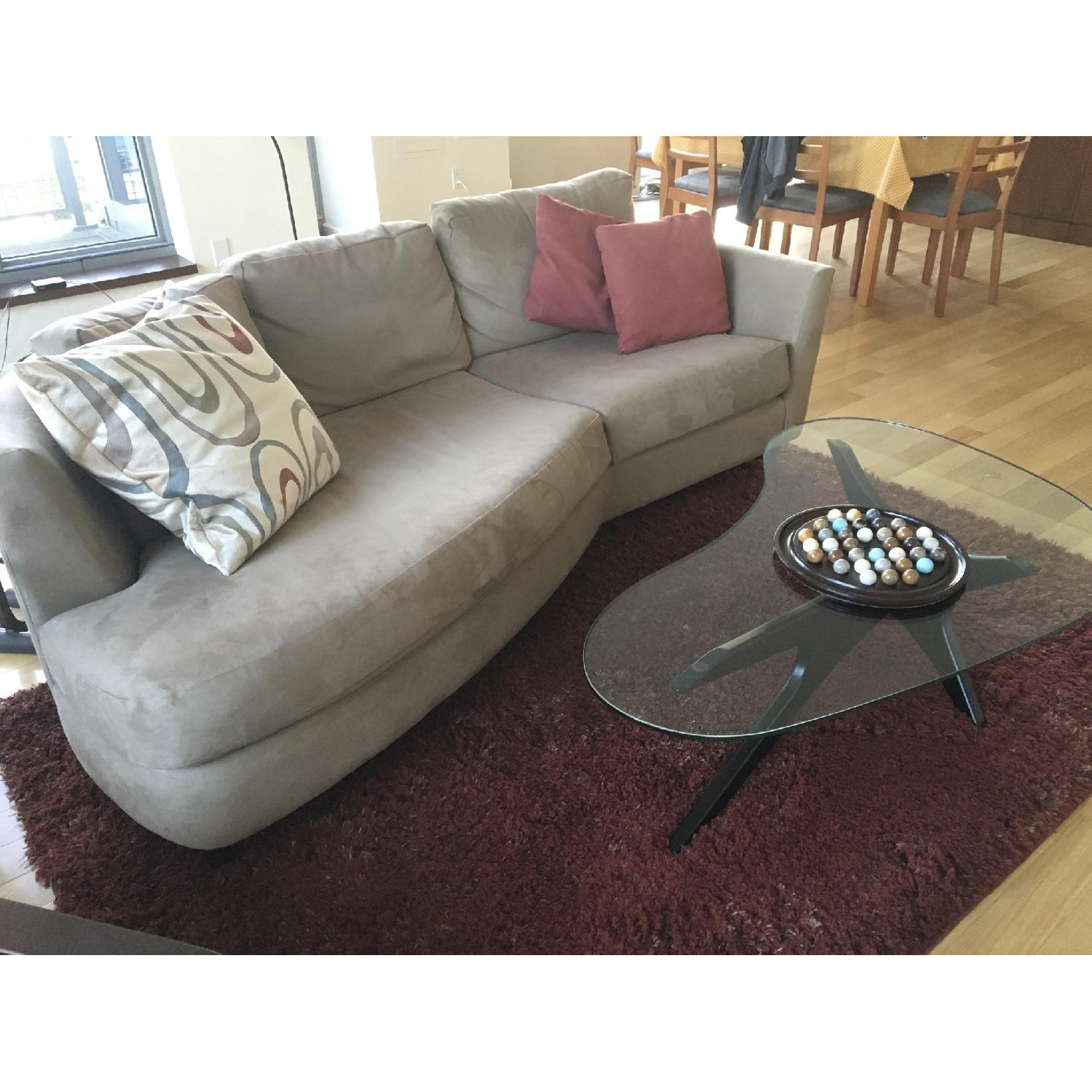 Grey Suede Couch - image-1