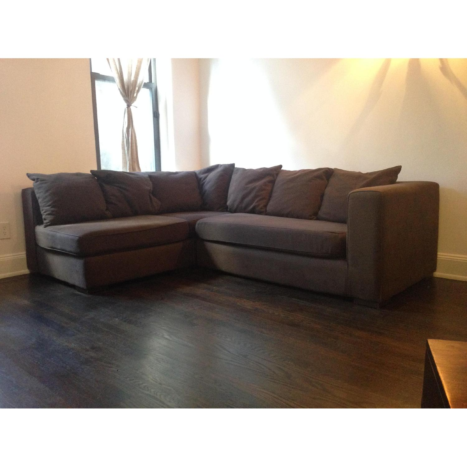 West Elm Walton 3 Piece Sectional Sofa in Brown - image-1
