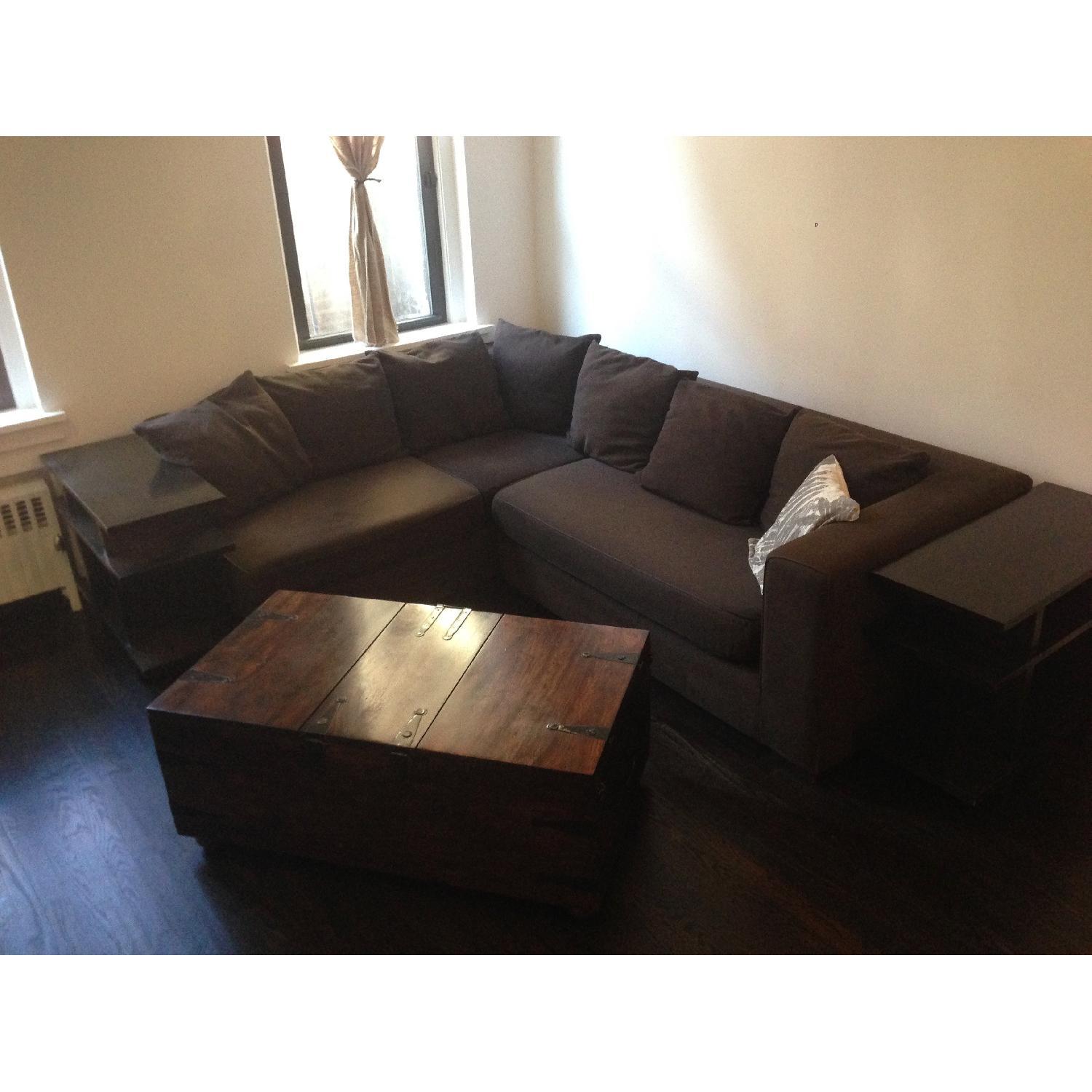 West Elm Walton 3 Piece Sectional Sofa in Brown - image-3