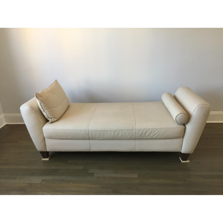 Natuzzi Leather Chaise Lounge w/ Wooden Legs - image-1