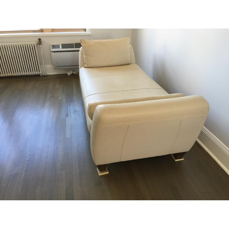 Natuzzi Leather Chaise Lounge w/ Wooden Legs - image-2