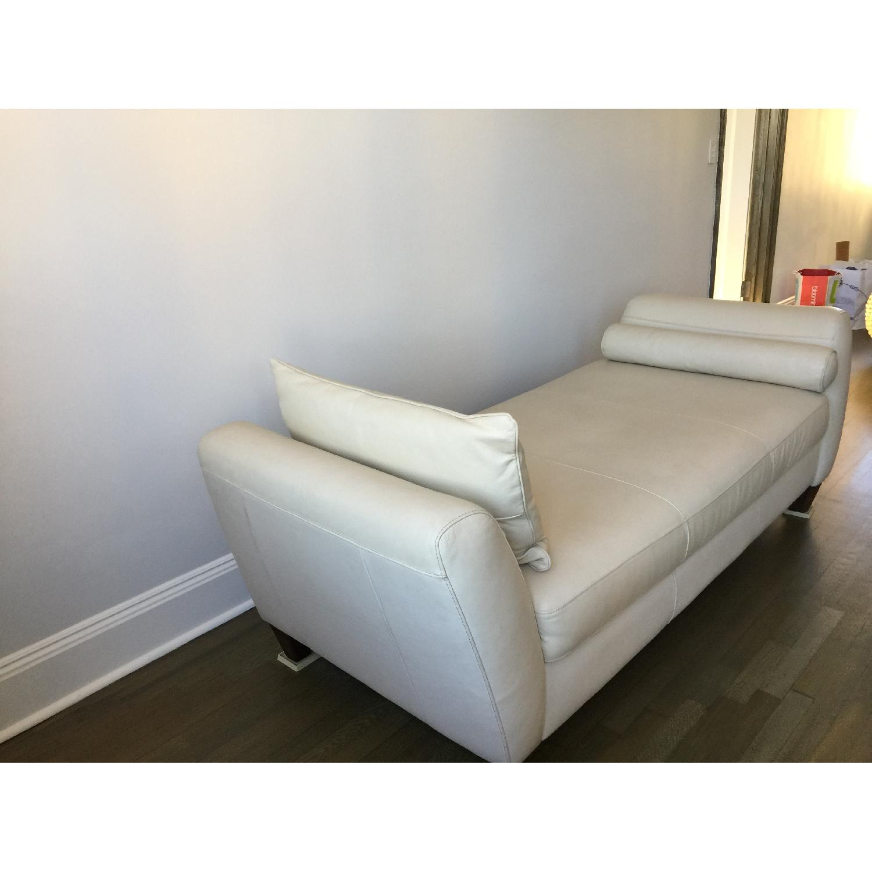 Natuzzi Leather Chaise Lounge w/ Wooden Legs - image-3