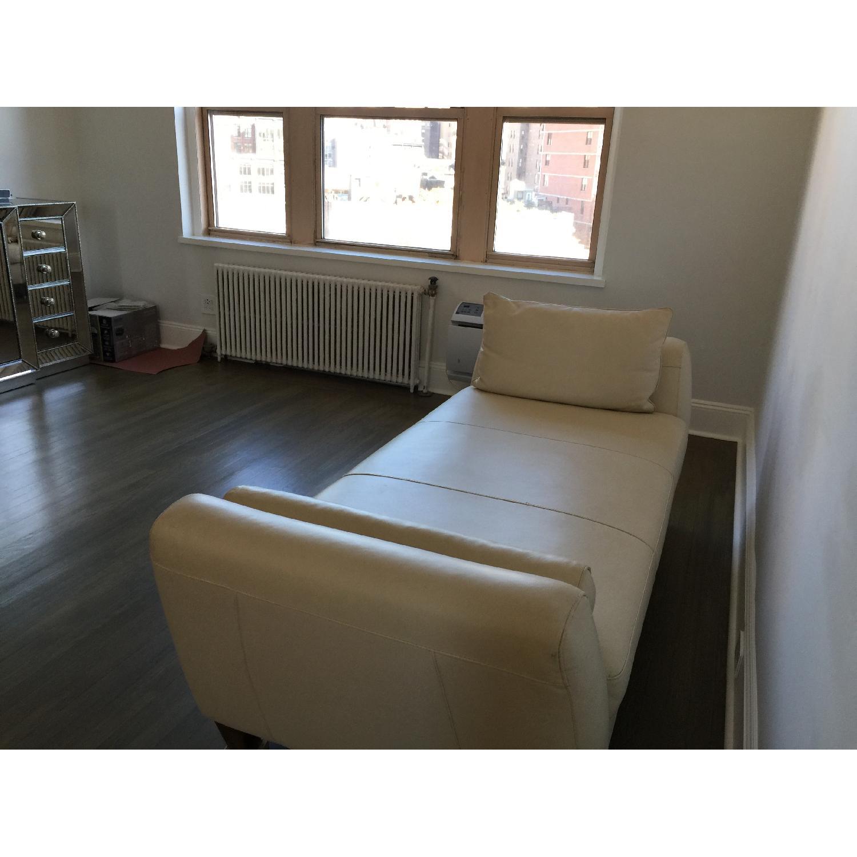 Natuzzi Leather Chaise Lounge w/ Wooden Legs - image-4