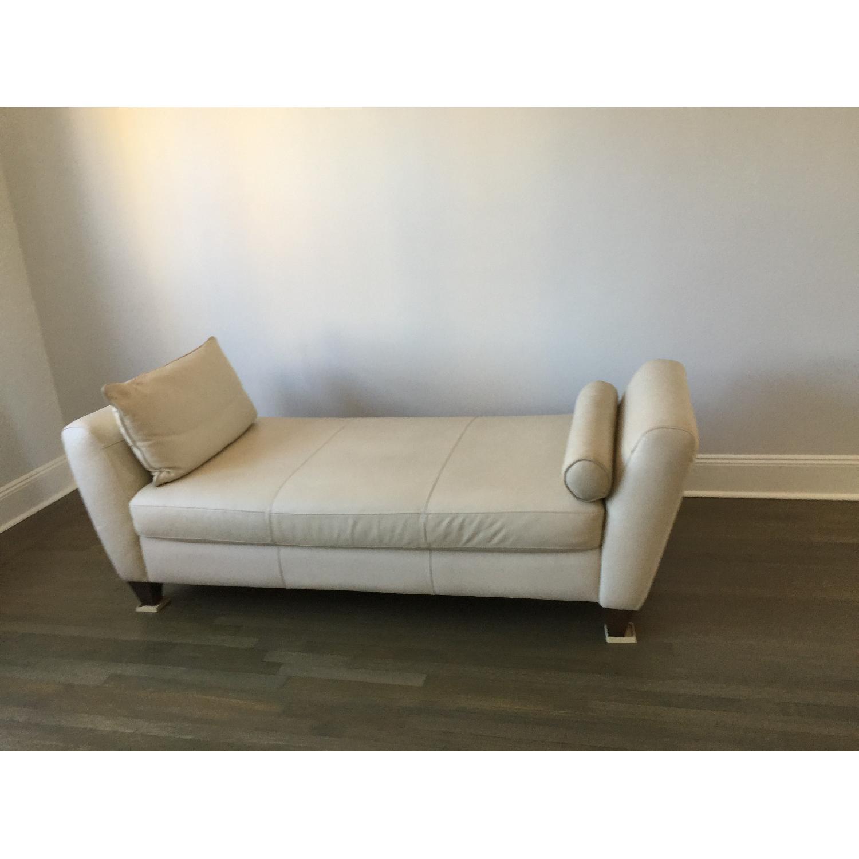 Natuzzi Leather Chaise Lounge w/ Wooden Legs - image-5