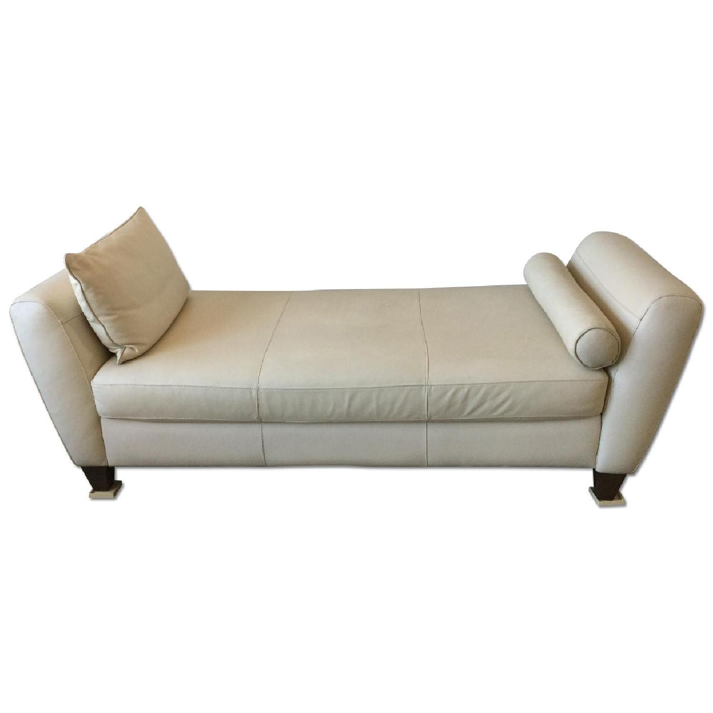 Natuzzi Leather Chaise Lounge w/ Wooden Legs - image-0