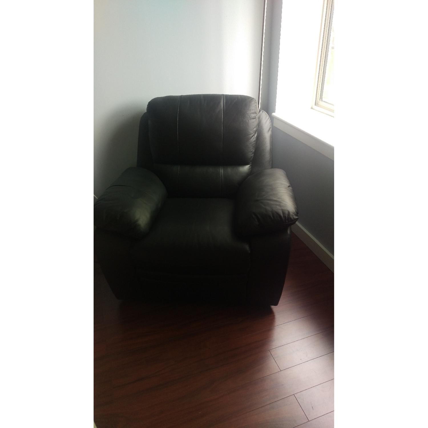Black Leather Recliner - image-1