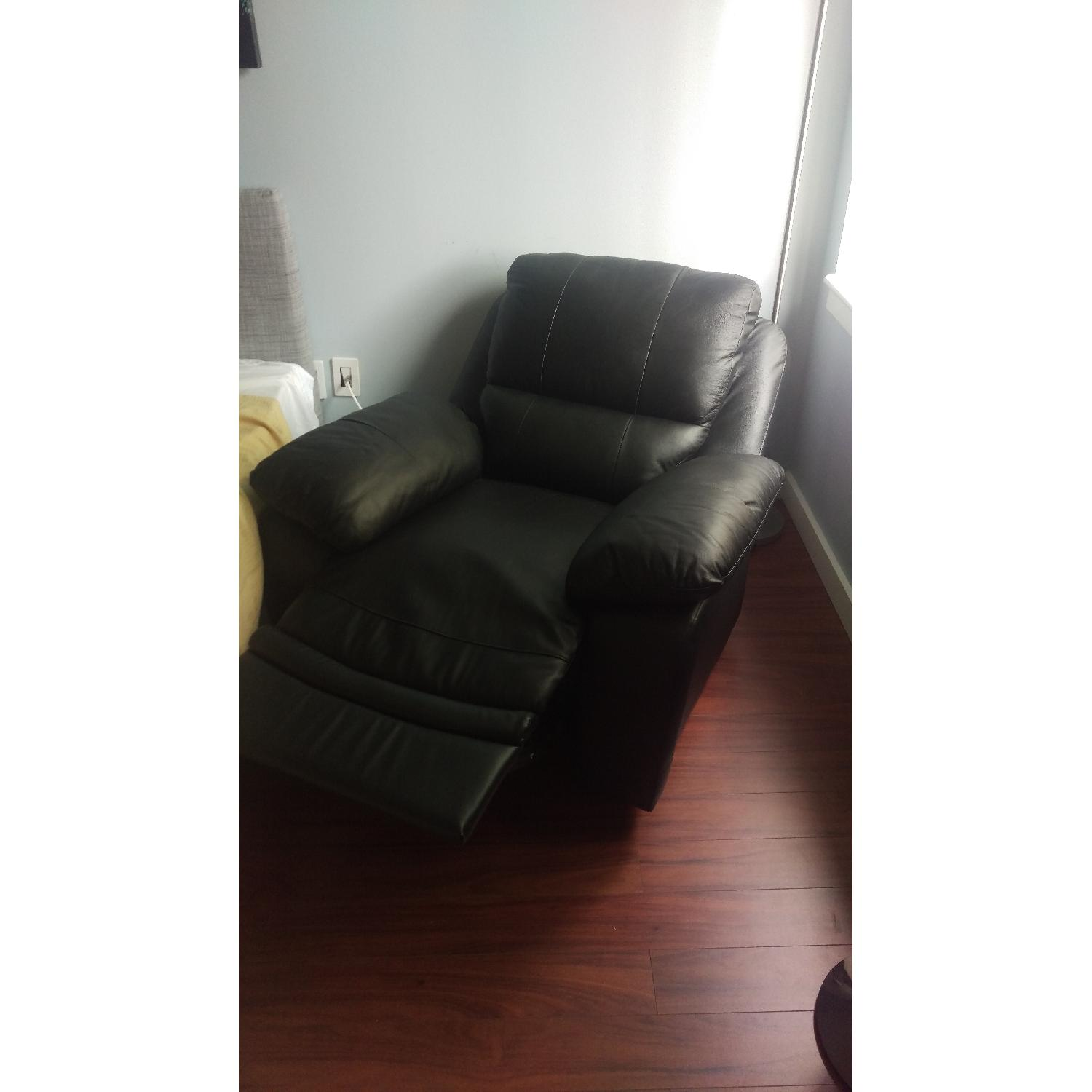 Black Leather Recliner - image-2