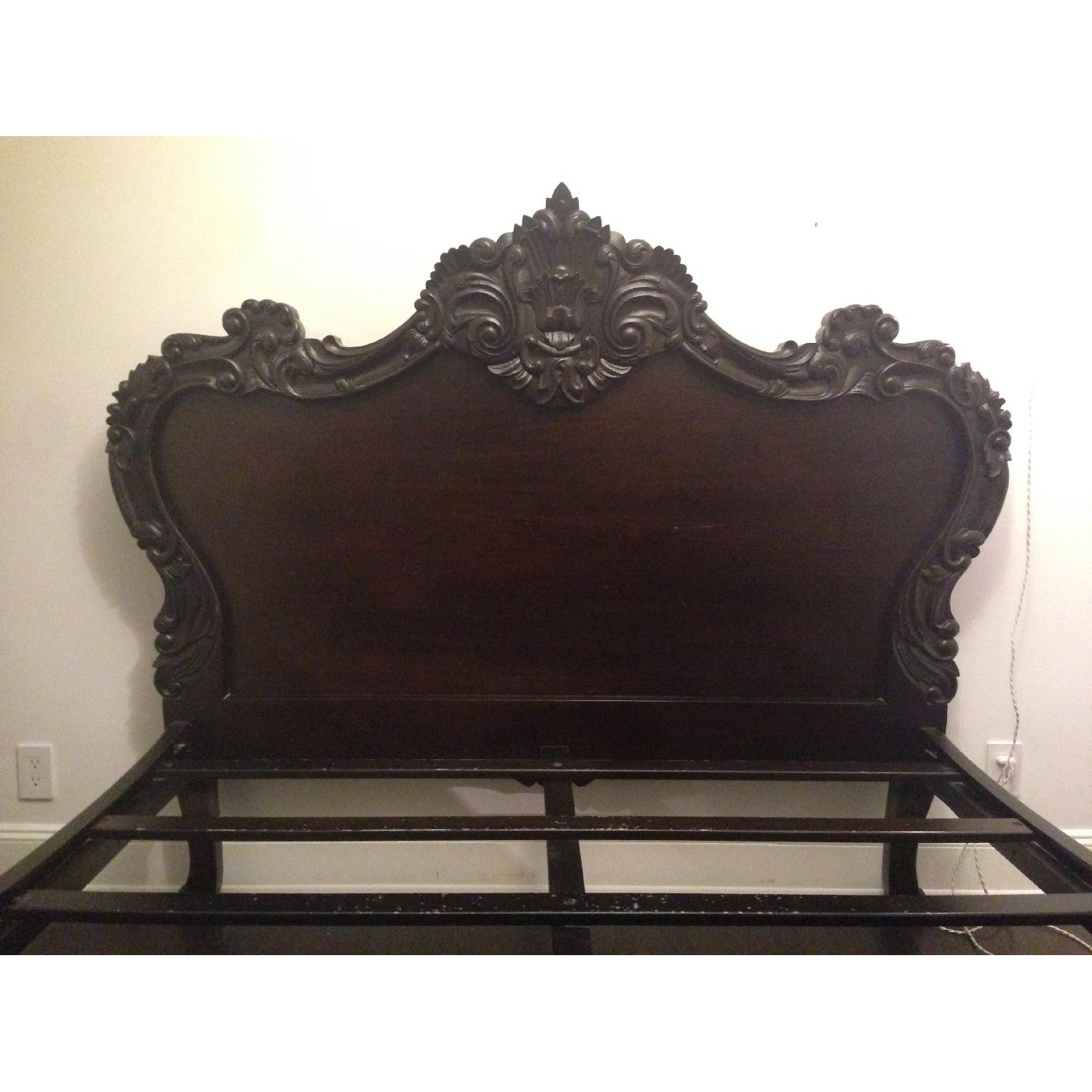 Brocade Home Wooden Queen Size Bed Frame w/ Carved Headboard/Footboard - image-1